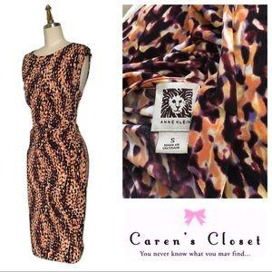 Anne Klein Multi Color Abstract Faux Wrap Dress